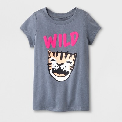 Toddler Girls'  Wild  Cap Sleeve T-Shirt - Cat & Jack™ Gray 12M