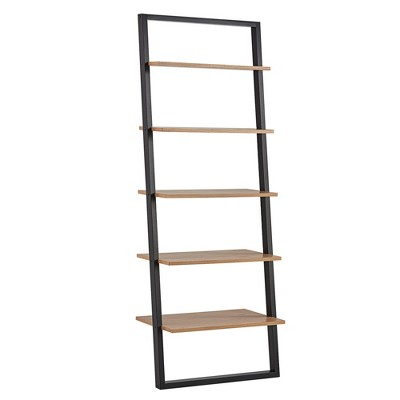 Aaric Leaning Ladder Bookcase Black and Natural 73.6  - Inspire Q