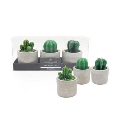 Fragrance Free Cactus Candle Set of 3 Green 2.29oz - Chesapeake Bay Candle