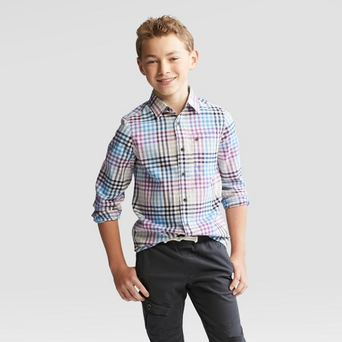 Boys' Long Sleeve Button-Down Shirt - Cat & Jack™ Blue - image 1 of 3