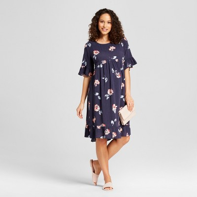 Maternity Ruffle Sleeve Printed Woven Dress - Isabel Maternity by Ingrid & Isabel™ Navy Floral S
