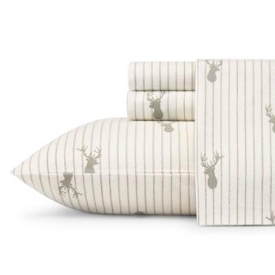 Eddie Bauer Deer Lodge Flannel Sheet Set Queen - Beige