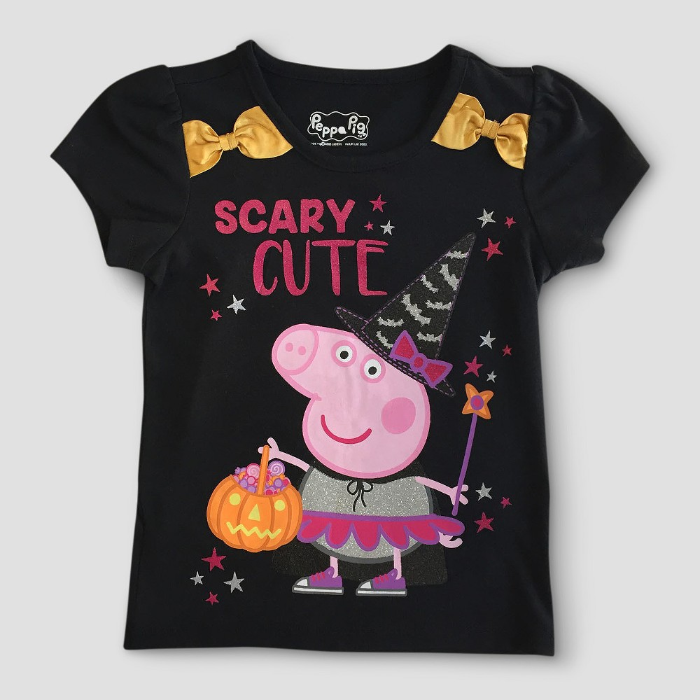 Toddler Girls Peppa Pig T-Shirt - Black 4T