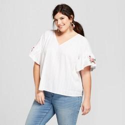 Women's Plus Size Flutter Sleeve Embroidered Blouse - Ava & Viv™ White
