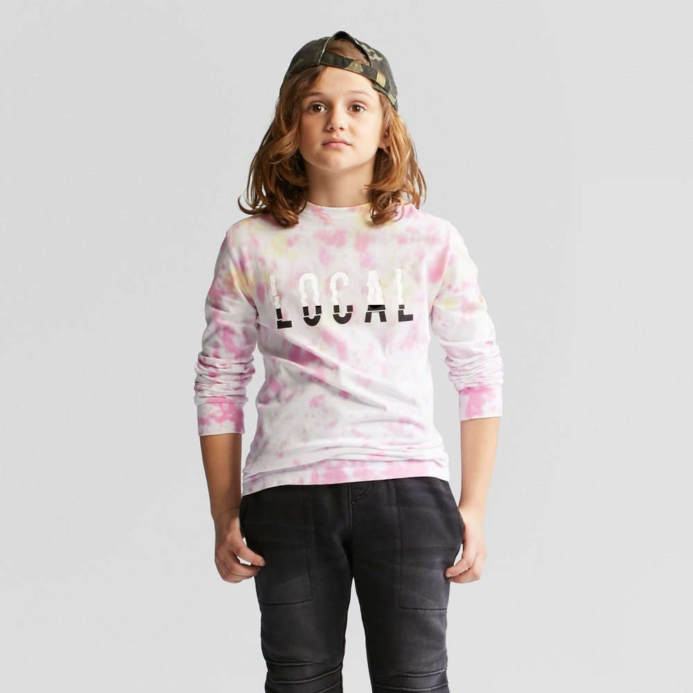 "Boys' Long Sleeve """"Local"""" Tie Dye T-Shirt - art class Pink M"