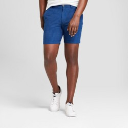 """Men's 10.5"""" Patterned Linden Flat Front Shorts - Goodfellow & Co™ Blue Dobby"""