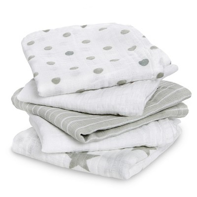 Aden® by Aden + Anais® Muslin Squares Baby Blankets - Dusty - 5pk - Light Gray