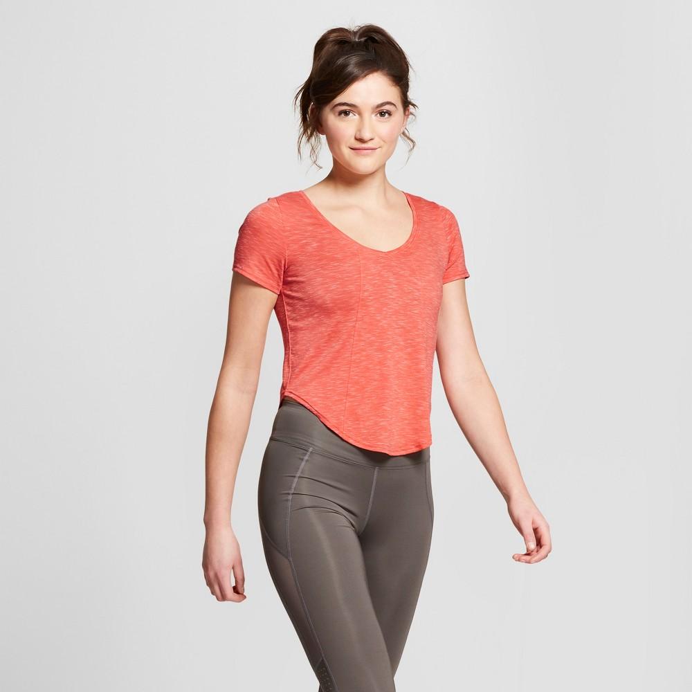 Women's Scoop Neck Crop T-Shirt - JoyLab Coral (Pink) S