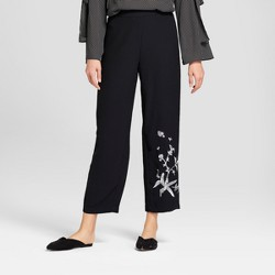 Women's Relaxed Embroidered Ankle Trousers - Who What Wear™ Black