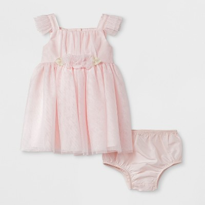 Baby Girls' Mia & Mimi Ruffled Sleeve Dress - Blush 6-9M
