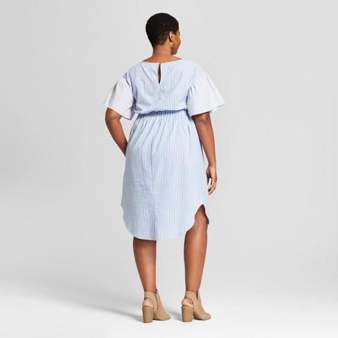 1f0a0de992744 Women s Plus Size Stripe Embroidered Shirtdress - Ava   Viv™ Blue White    Target