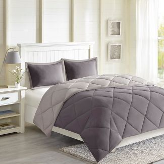 2pc Twin/Twin XL Windsor Reversible Down Alternative Comforter Set with 3M Stain Resistance Finishing Charcoal