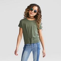 Girls' Short Sleeve Corset T-Shirt - art class™ Olive