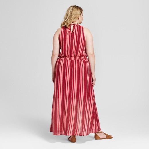 women's plus size stripe maxi dress - universal thread™ red : target