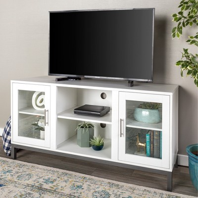 52  Wood TV Console with Metal Legs - White - Saracina Home