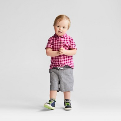 Toddler Boys' Top and Bottom Set - Cat & Jack™ Pink Plaid - 12 Months