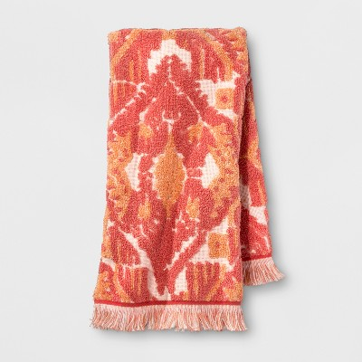 Ikat Fringed Hand Towel Coral Orange - Opalhouse™