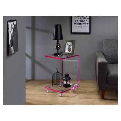 Hamilton Home Lucite C Shape Accent Table   Pink Edge