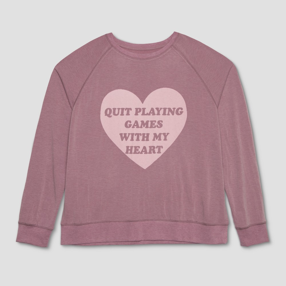 Junk Food Women's Quit Playing Games with my Heart Long Sleeve T-Shirt and Jogger Pants Pajama Set (Juniors') - Purple M