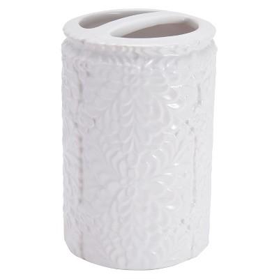 Foglia Bathroom Coordinate Leaf Porcelain Toothbursh Holder White - Kassatex®