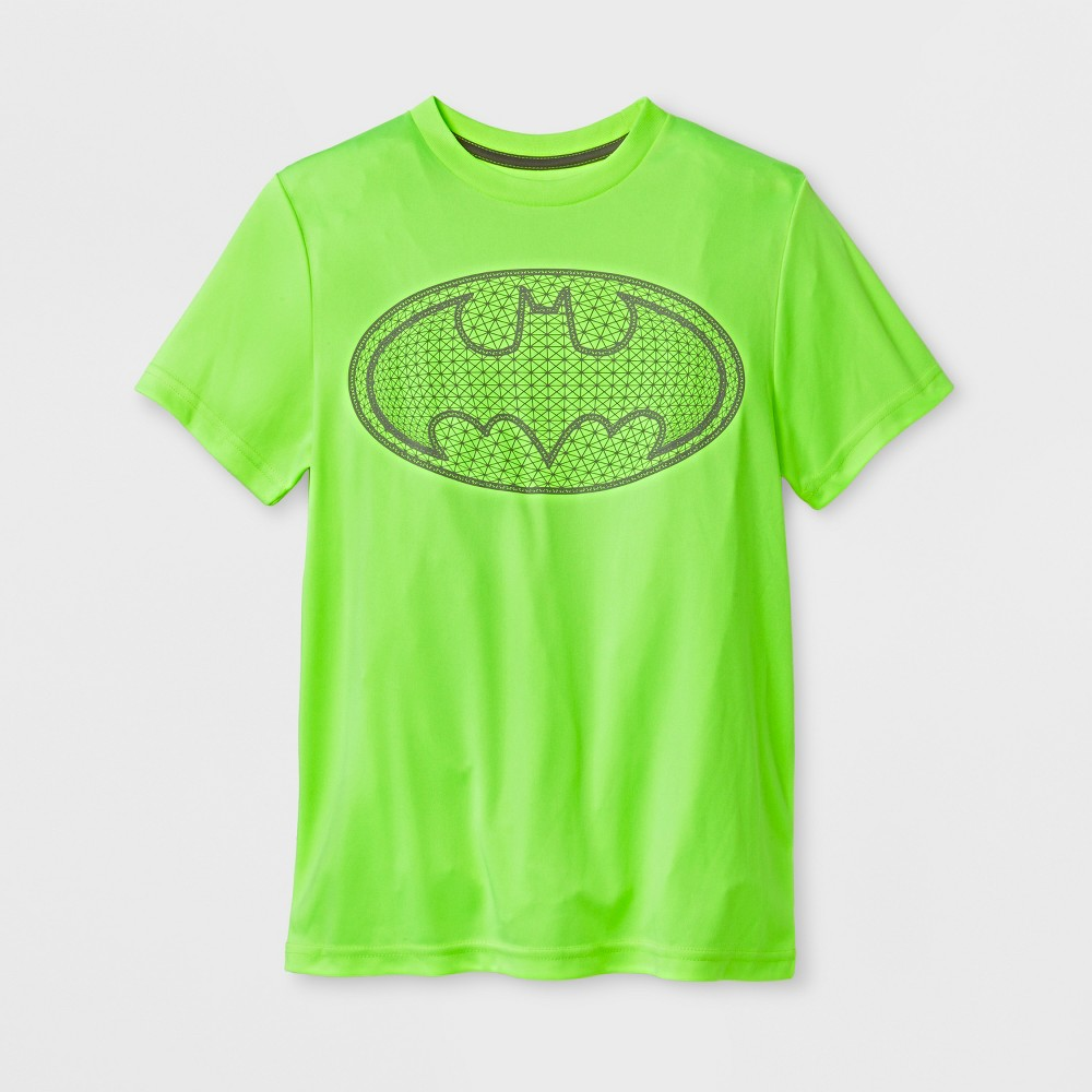 Boys' DC Comics Batman Activewear Short Sleeve T-Shirt - Neon Yellow M