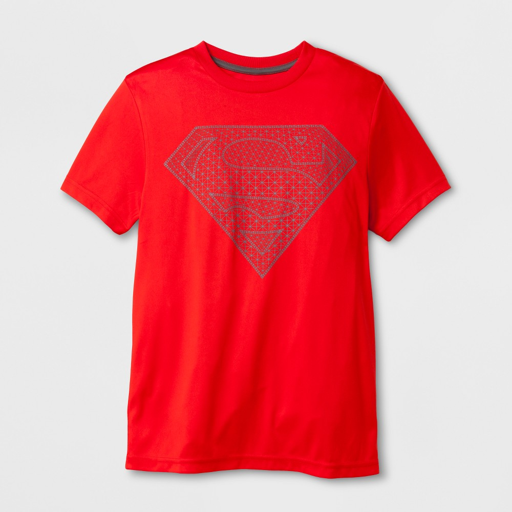 Boys' DC Comics Superman Activewear Short Sleeve T-Shirt - Neon Flare S, Red
