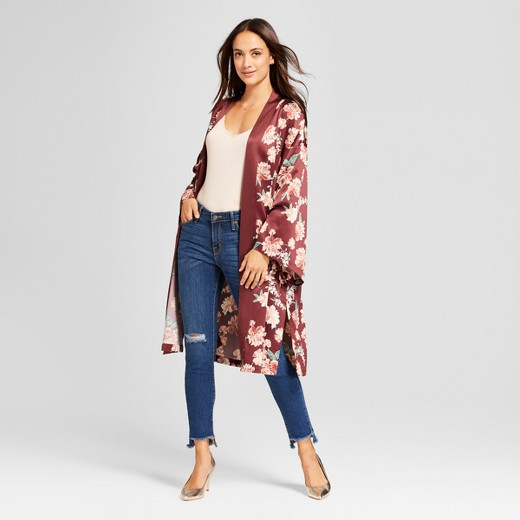 Women's Floral Duster Kimono Jacket - A New Day™ Burgundy : Target
