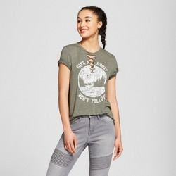 "Women's Woodsy Owl ""Give a Hoot, Don't Pollute"" Lace-Up Short Sleeve Graphic T-Shirt - Modern Lux (Juniors') Green"