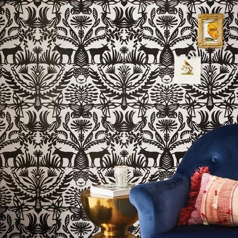 Eulalia Peel Stick Removable Wallpaper Stucco Black