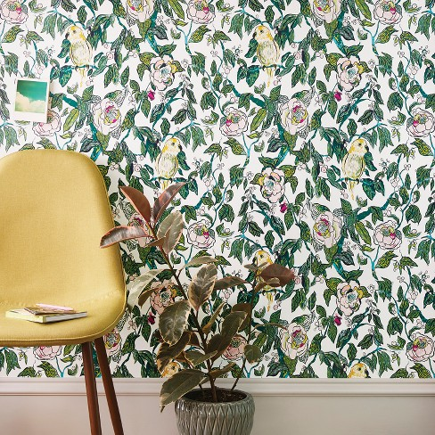 Canary Floral Peel Stick Removable Wallpaper