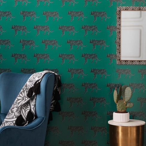 Panther Peel Stick Removable Wallpaper Bluff Green