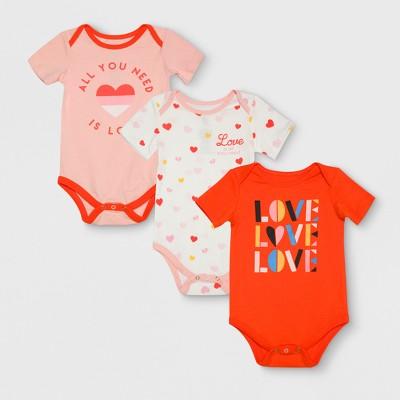 Junk Food Baby Girls' 3pk Bodysuit Set - Pink/Orange/White 6-9M