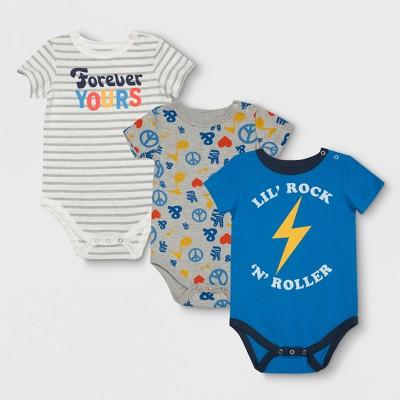 Junk Food Baby Boys' 3pk Bodysuit Set - Gray/Blue/White 3-6M