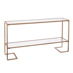 Horzen Glam Narrow Console Gold With Mirror - Aiden Lane