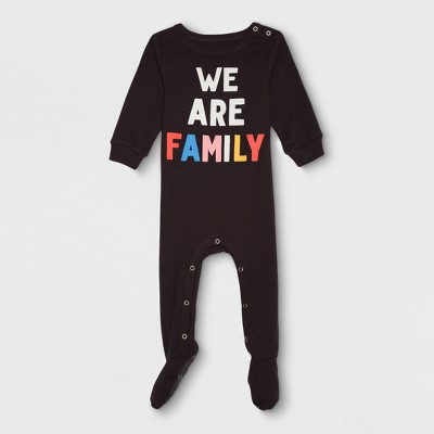 Junk Food Baby We Are Family Long Sleeve Bodysuit - Black 6-9M
