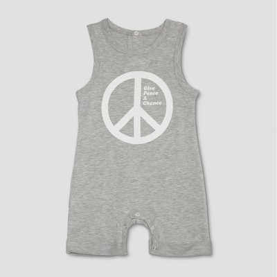 Junk Food Baby Give Peace a Chance Sleeveless Rolled Leg Bodysuit - Gray 9-12M