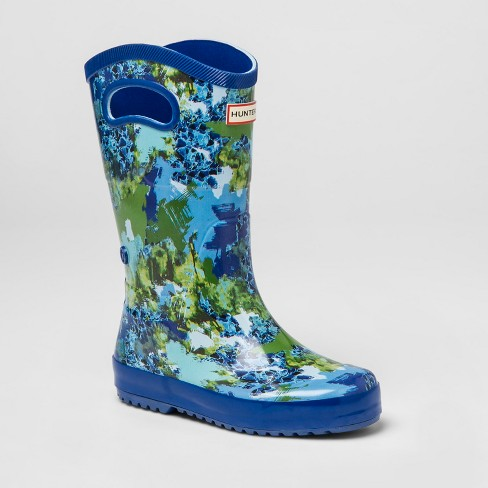 Hunter for Target Kids' Abstract Print Tall Rain Boots - Blue - image 1 of 5