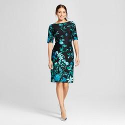 Women's Floral Printed Midi Scuba Dress - Melonie T Black/Emerald