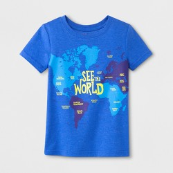 Toddler Boys' See the World Map Short Sleeve T-Shirt - Cat & Jack™ Blue