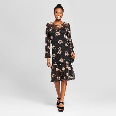 womenu0027s floral mesh midi dress le kate black