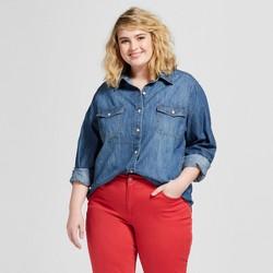 Women's Plus Size Labette Denim Long Sleeve Button Down Shirt - Universal Thread™