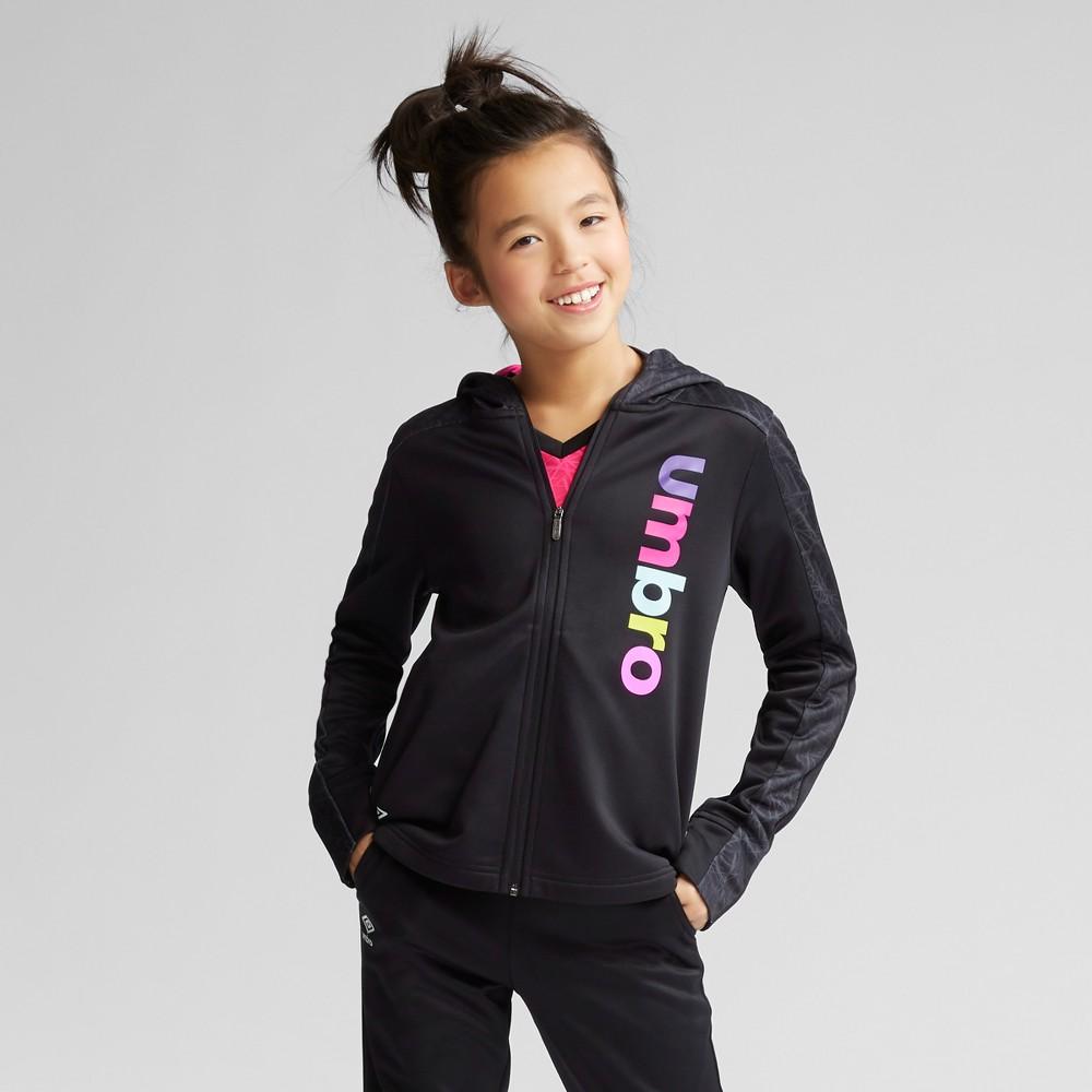 Umbro Girls' Printed Tech Fleece Full Zip Hoodie - Black XL