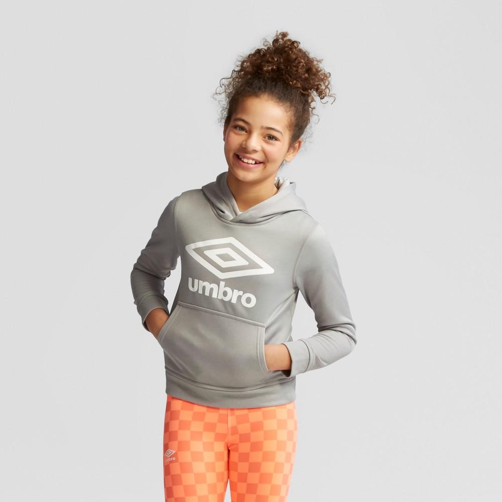 Umbro Girls' Fleece Logo Pullover Hoodie - Heather Gray S
