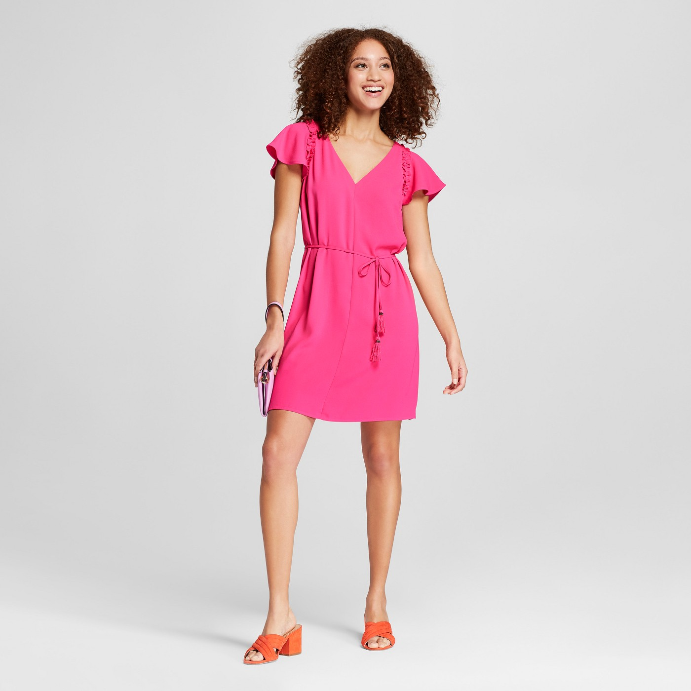 "Women's Ruffle Sleeve Crepe Dress - A New Dayâ""¢ Pink - image 1 of 3"