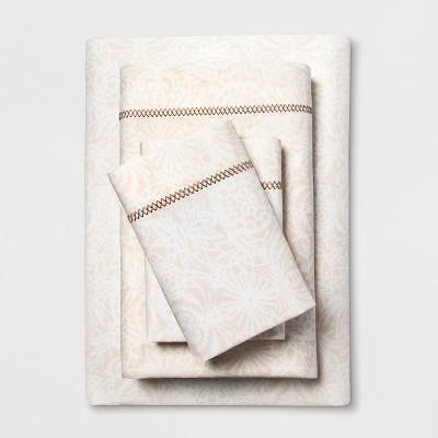 Cotton Percale Print Sheet Set (King)Tan - Opalhouse™