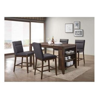 5pc counter height dining set brown home source industries - Counter Height Kitchen Table
