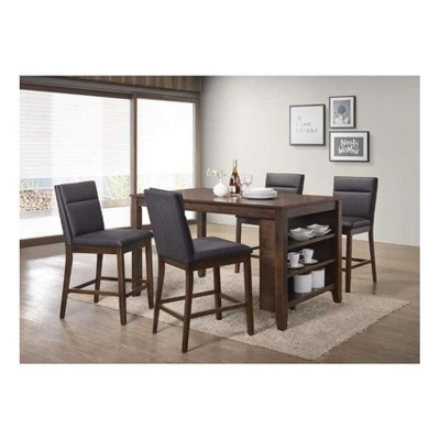 5pc Counter Height Dining Set   Brown   Home Source Industries