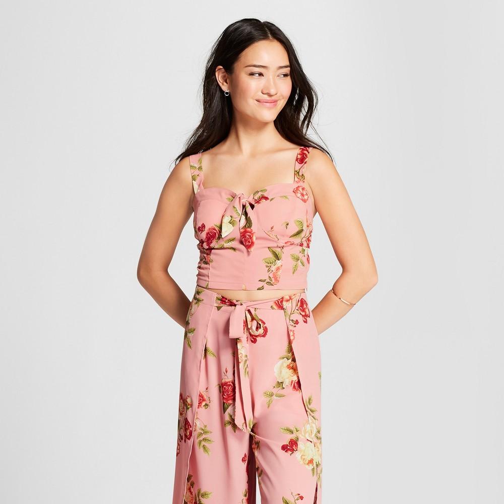 Women's Floral Print Crop Top Tank - Xhilaration Blush L, Pink