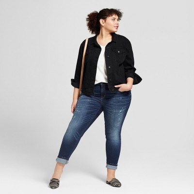 Women's plus size black denim jacket