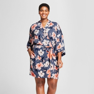 Women's Plus Size Floral Print Total Comfort Robe - Gilligan & O'Malley™ Blue 3X